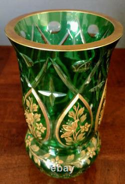 MOSER Antique Emerald Green Cut To Clear Intaglio Gold Gilded 1900's Vase, Nice