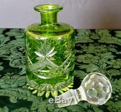 MOSER Decanter Org Stopr Gorgeous Early 1900 Green Crystal Cut & Etched To Clear