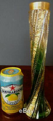 MOSER Unique Twisted Green, Clear & Gold Gilt, Old 1900's Nice, Fine & Rare