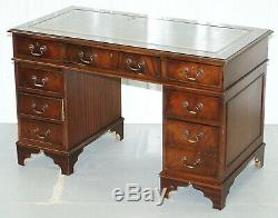 Mahogany & Green Leather Partner Desk With Sliding Keyboard Shelf Twin Pedestal