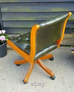 Mahogany Green Leather Swivel Tilt Desk Chair