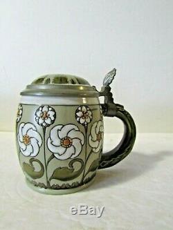 Mettlach 2099 Green Art Nouveau Floral Design Lidded Stein