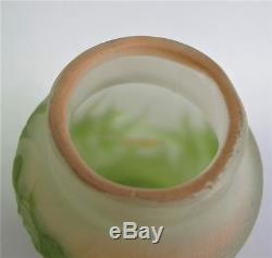 Miniature Antique SIGNED GALLE Art Nouveau Pink & Green Vase c. 1905 glass