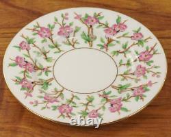 Minton 23 Piece Bone China Tea Set 1920's Green & Pink Floral Porcelain Tea Set