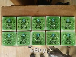 Minton Hollin Antique Art Nouveau X 10 Fireplace Tiles Rare Green Victorian