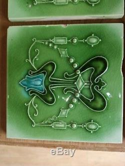 Minton Hollins Antique Art Nouveau X 10 fireplace tiles RARE green Victorian