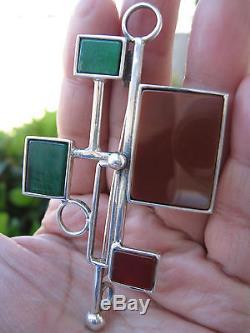 Modernist Vtg Sterling Signed Carnelian/green Stones Art Deco Brooch/pendant