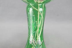Mont Joye French Hand Painted Pink & Purple Floral Green Art Glass Vase C. 1900