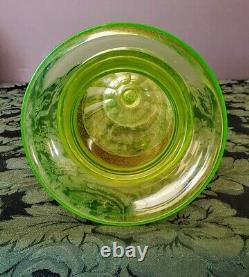Moser-Hoffman Vaseline Glass Flared Rim, Gorgeous Warriors Gold Frieze, 1890's