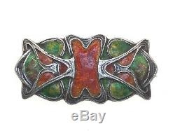 Murrle Bennett Silver & enamel brooch antique art nouveau Green & Orange 10.8g