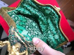 Museum Quality Vintage Art Nouveau Female Figure Cloth Purse with Rhinestones