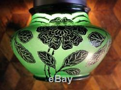 NICE Antique Loetz Bohemian Art Nouveau Green Glass Silver Overlay Cabinet Vase
