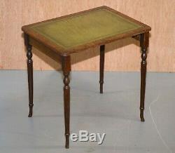 Nest Of Three Flamed Mahogany Green Leather Top & Gold Leaf Embossed Side Tables