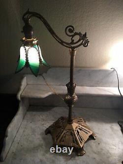 Nice! Antique Art Nouveau Bridge Arm Table Lamp Tulip Green Slag Glass Shade