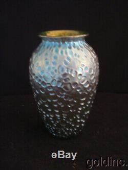 Nice Art Nouveau Loetz Blue/Green Iridescent Crete Diaspora Vase
