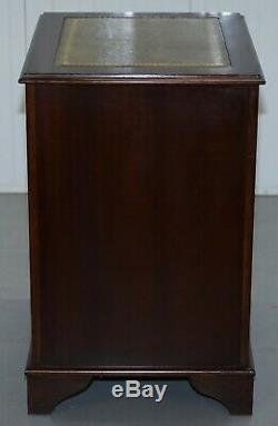 Nice Heavy Mahogany With Green Leather Gold Tooling Double Filing Cabinet
