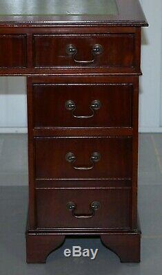 Nice Vintage Flamed Mahogany Twin Pedestal Partner Desk With Green Leather Top