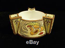 Nippon Art Nouveau Moriage Stylized Bowl Chicken Motif Green Morimura Bros. Mark