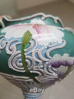Nippon Old Noritake Moriage Art Nouveau Vase Compote Flowers, Green, Sky Blue