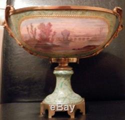 OLD antique Sevres Artist LUCOT signed PORCELAIN and Bronze URN Centerpiece $$$