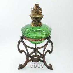 Oil lamp base bronzed metal green glass Art Nouveau antique Victorian