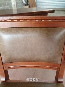 Old Charm Oak Leather Gainsborough/captains/desk Chair/ Green Leather Desk Chair