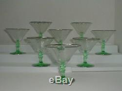 Old Set Tiffin Glass Franciscan Dancing Lady / Nymph Green Stem Rhodium Rimmed