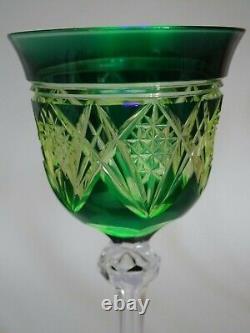 One Antique Roemer Wine Glass Crystal Val Saint Lambert Pattern Uranuim Vaseline