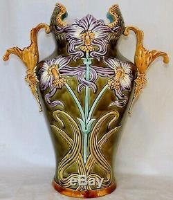 Onnaing French Majolica Jugenstil Big Vase 1880-1900 Mint Condition