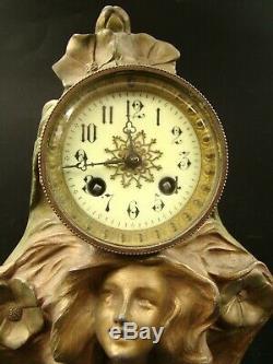 Original Art Nouveau Woman Figural Large Table Clock by Francesco Flora ca 1890