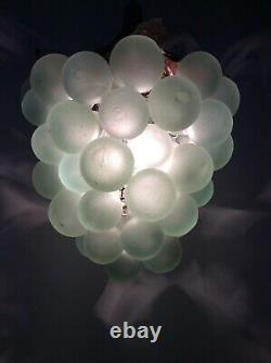 Original Vintage Art Deco Nouveau Green Glass Grape Ceiling Light Chandelier