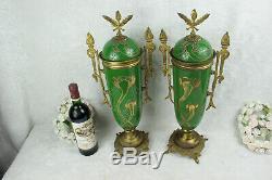 PAIR French antique Faience porcelain Green art nouveau cassolettes vases