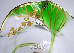 Pair Antique Art Nouveau Finger Bowls with Under Plates STUART GLASS Green Trailed