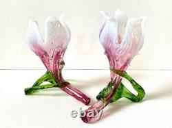 Pair Antique Kralik Bohemian Opalescent Pink Green Glass Floriform Posy Vases