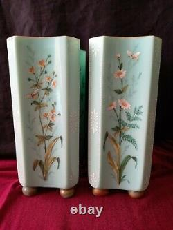 Pair Bohemian Harrach Moser Glass Vases Enamelled Butterflys Flowers Antique