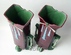 Pair Eichwald Art Nouveau Secessionist (Sezessionist) Tall Vases Burgundy Green