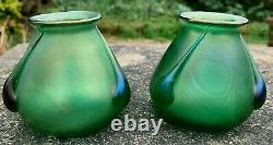 Pair Of Antique Art Nouveau Loetz Iridescent Green Glass Vases Bohemian Vase
