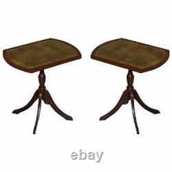 Pair Of Bevan Funell Green Leather Mahogany Tripod Lamp Side End Wine Tables