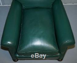 Pair Of Edwardian Circa 1910 Soft Green Leather Feather Filled Cushion Armchairs