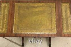 Pair Of Stunning Bevan Funnell Mahogany Green Leather Extending Side Tables