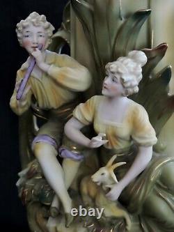 Pair VASES, porcelain, Art Nouveau, figural, Saxony, Germany, c1900, 16
