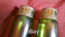 Pair of Iridescent Glass Vases with Pierced Metal Collars Jugendstil c1905