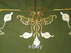 Pair of Large Fabulous Antique French Art Nouveau Wool Embroideries C. 1900