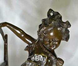 Pair solid bronze Art Nouveau Girls on Chairs 12 figurines signed A. Moreau