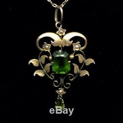 Pendant 9ct Lavalier Art Nouveau Nat Seed Pearls And Green Paste Stones
