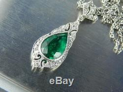 Platinum Emerald Art Nouveau Collier Pendant with 23 SMALL DIAMONDS