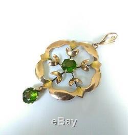 Pretty Antique Art Nouveau 9ct Gold Lavaliere Pendant. Green Gemstone