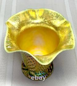 Quezal, Decorated Floriform Vase, Fishnet Diamond Optic, Exceptional Color