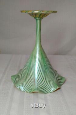 Quezal, Flower Floriform Vase, Green Pulled Feather, Zipper Foot, Nice