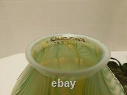 Quezal Signed Gold Aurene Pulled Feather Iridescent Lamp & Shade